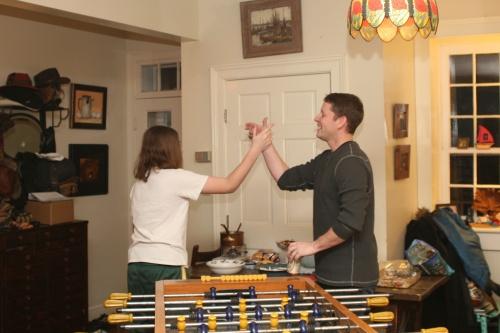 Foosball! Eli wins, again.