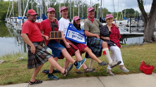 We sail in kilts: even in the rain