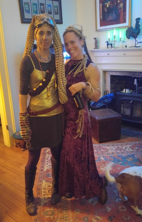 Amy as Twi'lek and Jen as Jabba's slave girl
