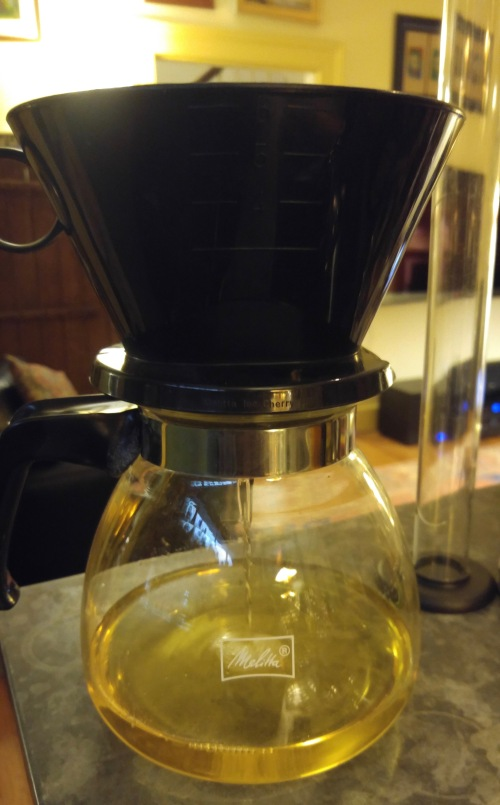 Straining the peel infusion with a coffee filter