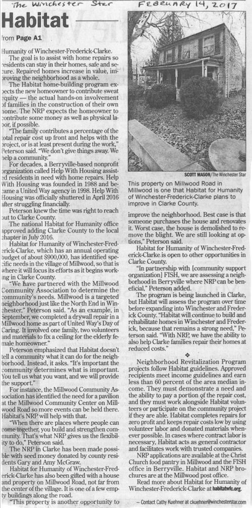 Article (part 2) from the Winchester Star 2.14.17